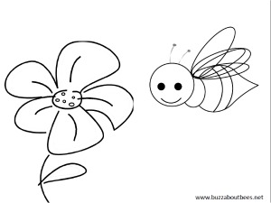 Bumblebees And Flowers Large Flower Smiley Bee Beekeeper Coloring Page