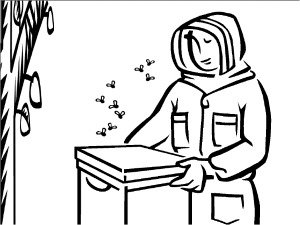 Beekeeper Coloring Page With A Bee Hive And Next To Tree Beekeeping